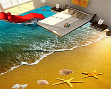 цена Waves beach starfish dolphins 3D floor painting 3D tiles bedroom bathroom living room 3d waterproof self-adhesive wallpaper coat в интернет-магазинах