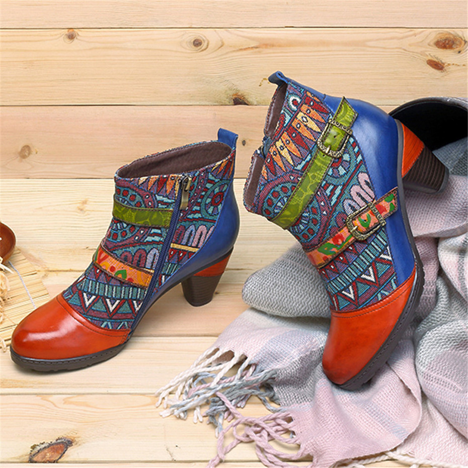 D Knight Brand Plus Size Women Ankle Boots Vintage Patchwork Female Short Boots Fashion Side Zip Print Buckle Lady Shoes Booties (1)