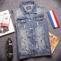 Summer Spring Vintage Casual Man's Ripped Hole Blue Denim Sleeveless Vest Coat , Autumn  Male Cool Fashion Destroyed Jeans Vests