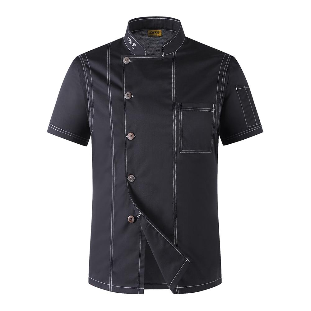 New High Quality Black Chef Jacket Restaurant Hotel Short-sleeve Cook Suit Man Woman Work Clothes Uniform Coat