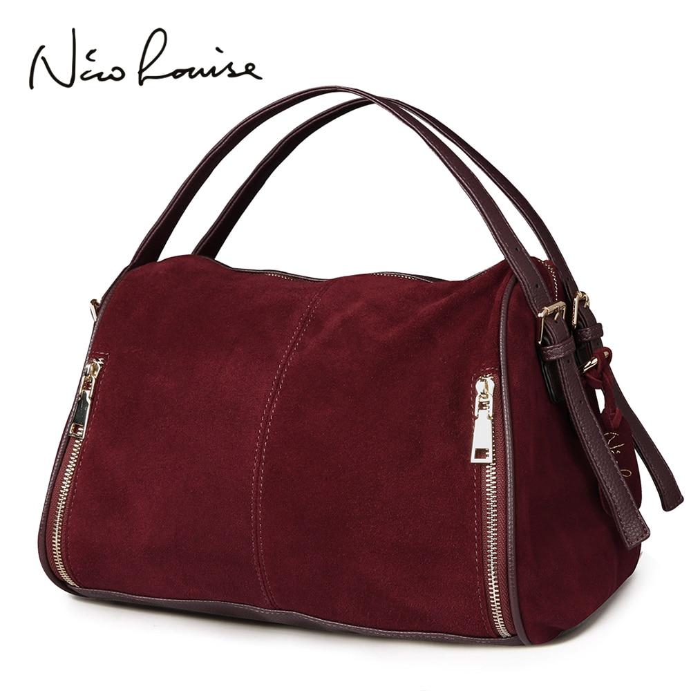 Nico Louise Women Real Split Suede Leather Boston Bag,Original Design Lady Shoulder Traveling Doctor Handbag Top handle Bags Sac-in Shoulder Bags from Luggage & Bags    1