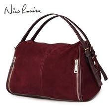Nico Louise Women Real Split Suede Leather Boston Bag,Original Design Lady Shoulder Traveling Doctor Handbag Top-handle Bags Sac
