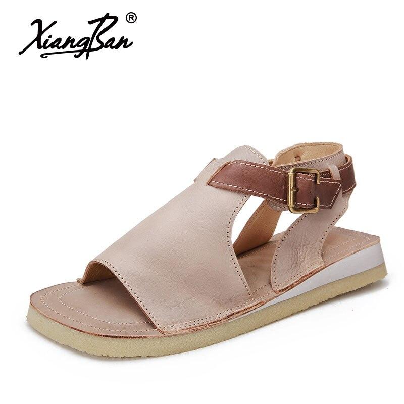 Original Women Designer Summer Flat Shoes Vintage Woman Sandals Leather Buckle Leisure Fish Mouth Sandal Ladies цены онлайн
