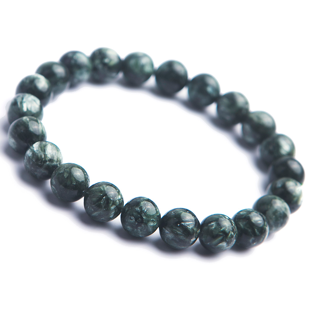 Genuine Green Seraphinite Natural Gems Stone Round Beads Crystal Fashion Lady Bracelets 9mm genuine green seraphinite natural stone crystal round beads 14mm women mens stretch bracelets
