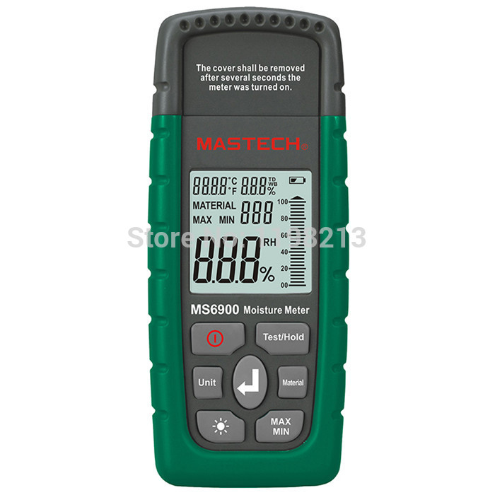 Mastech MS6900 Portable Digital Timber Wood Moisture Meter LCD Hygrometer Temperature meter Humidity Meter Tester gm620 digital lcd display wood moisture meter 2 70% humidity tester timber damp detector portable high quality