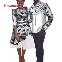 African Couple Clothing Mens Shirt+dashiki Dresses for Clothes Party Wedding  WYQ186