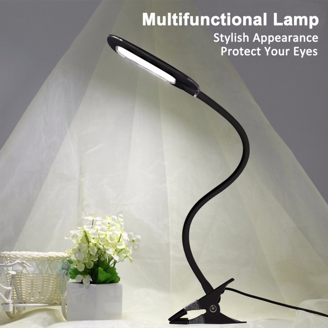 Dimmable led table lamp 5w usb flexible clip on clamp desk lamp task light book