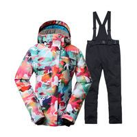 Camouflage Women's Snow Wear outdoor Sports Clothing Snowboarding Sets waterproof windproof Costume Snow Coat and bib Ski pant