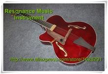Klassische G Benutzerdefinierte Linkshänder E-gitarre Hollow Body Jazz Gitarre Weinrot F Löcher Andere Farben Erhältlich