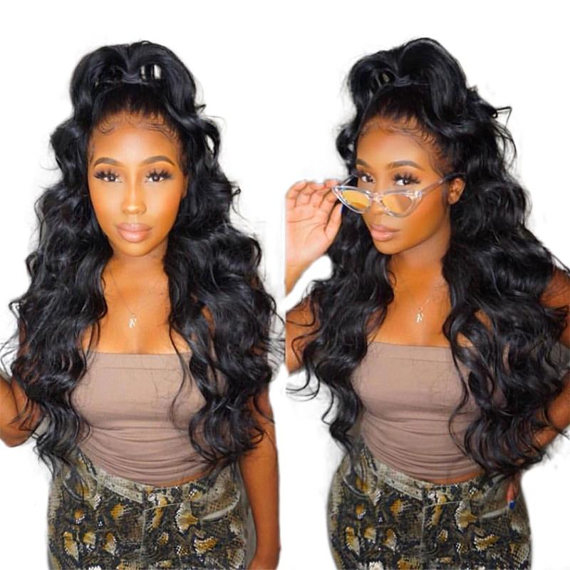360 parrucca frontale in pizzo 100% capelli umani pre pizzicato con i - Capelli umani (neri)