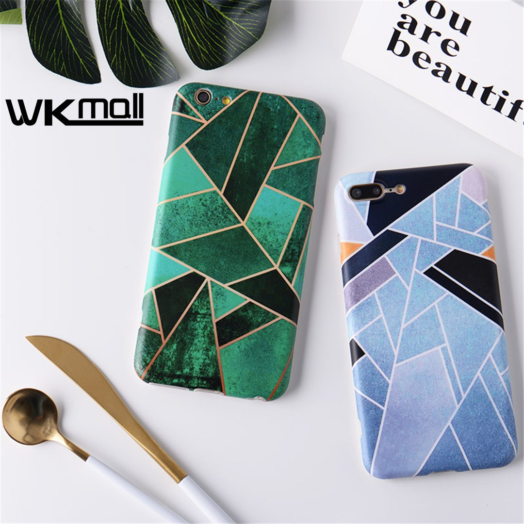 Cute green Patchwork Cover For iphone 7 case Geometric Triangle Designs with Ring Stand Stylish Cover For iPhone 6 7plus 6plus