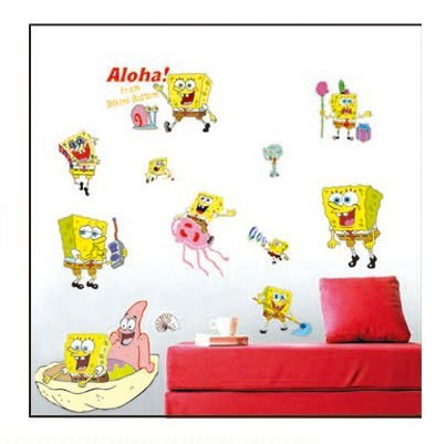 Removable PVC SpongeBob Wallpaper Wall Sticker for Kids Rooms Cartoon  Decorative Wall Decal Poster Baby Home