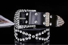 WOMAIL Western Cowgirl Bling Leather Belt Clear Rhinestone Crystak Leather Belt  Women New Feb12 W22d35( d114cbec4172