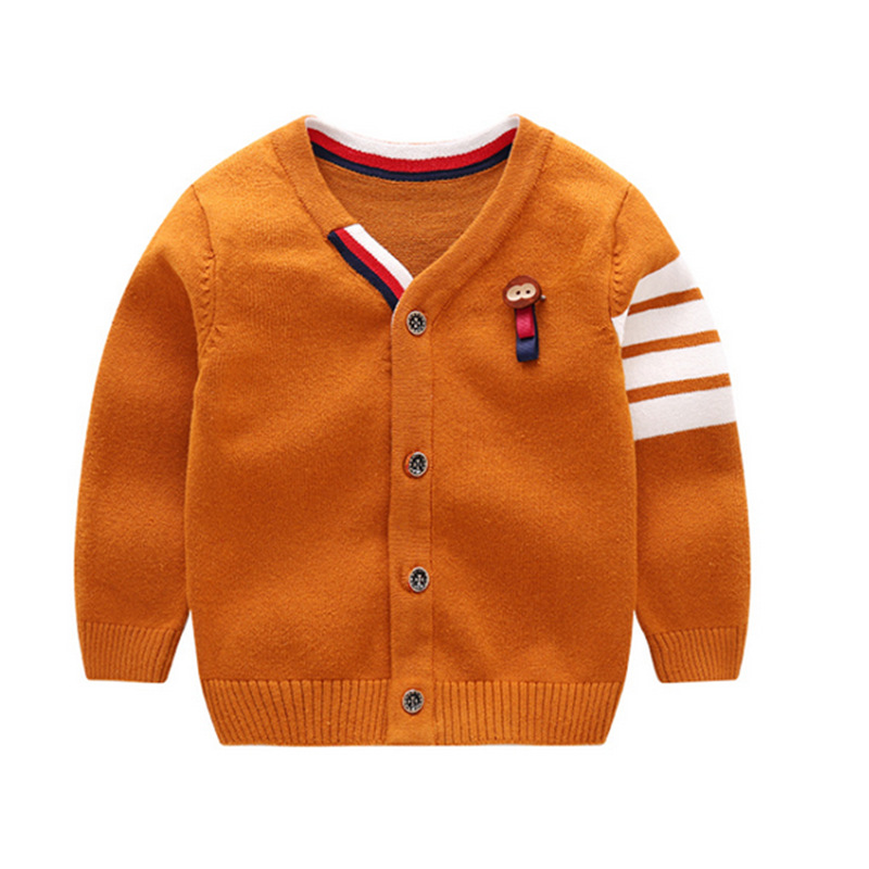 Fashion Baby Sweater For Boys Solid Cotton Baby Sweater V-Neck Long Sleeve Kids Cardigan With Animal Baby Boys Clothing