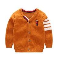 Suéter de Bebé de moda Para Niños Sólido de Algodón Bebé Suéter Con Cuello En V Manga Larga Niños Cardigan Con Animales Bebé Ropa de Los Muchachos