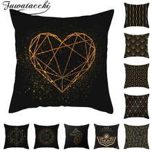 Fuwatacchi Black Gold Cushion Cover Heart Diamond Geometric Pillow for Home Chair Decorative Pillows Mandala Throw