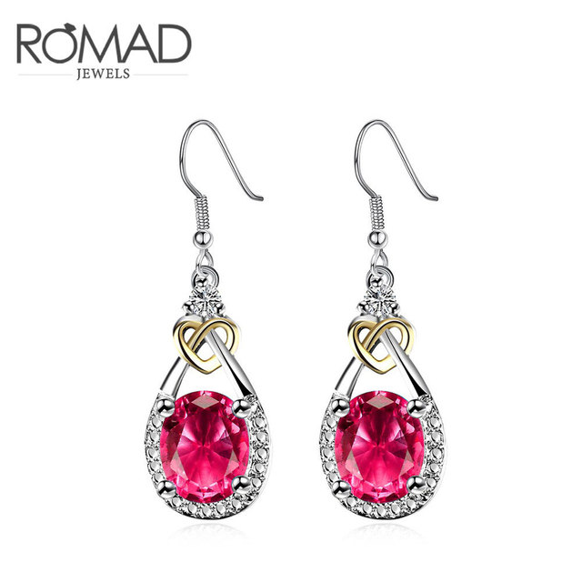 Royal Blue Red Cubic Zirconia Earrings Baby With Heart Shaped Women Whole Gold