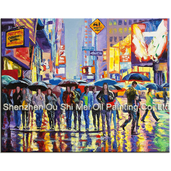 Hand painted Knife Landscape Painting on Canvas Busy Morning Street New York Scenery Paintings Room Wall Decor Cross Road Art