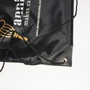 Image 4 - 100pcs/Lots Custom Kids Cloth Drawstring Bags with Printing Logo String Backpack Bag For Girls