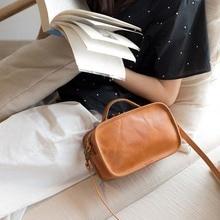 2018 new leather retro simple commuter handbag shoulder bag original handmade Messenger female