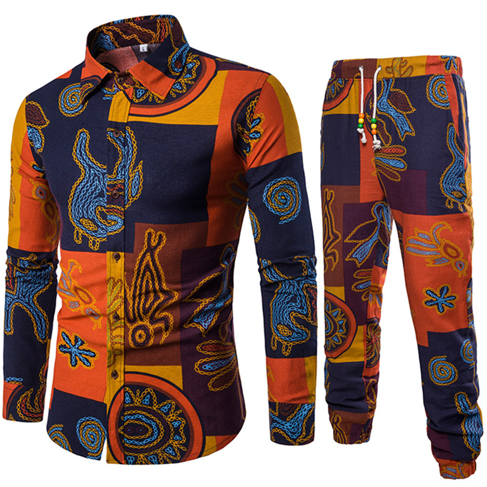 Mature Man Holiday 5XL Big Size Male Long Sleeve Shirt And Long Pant Suit Europe Style Ethnic Party Wear New Fashion Men Suits