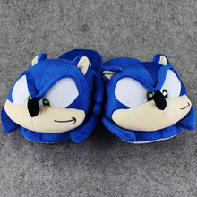 1 Pair 27cm Sonic the hedgehog indoor Slippers Plush Shoes Warm Winter Adult Slipper Toy Christmas
