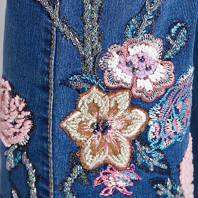 Con De Pj Mano Slim hecho A Kz0001 Estilo Bordado Pantalón Damas Desgaste Blue Retro Cuentas Alta Vaqueros Sdzm Chino 1xgxF8