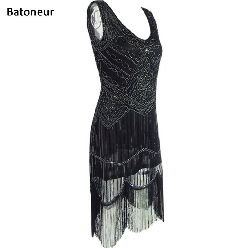 US $27.22 20% OFF|Women 1920\'s Sequin retro vintage dresses Fringed Dress  Hem Flapper Dress Roaring 20s Plus Size Gatsby Dresses-in Dresses from ...