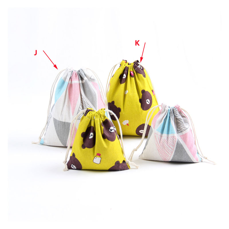 Printed Cotton Linen Storage Shopping Storage Bag Eco-Friendly Folding Reusable Portable Drawstring Bag For Travel Grocery Bags