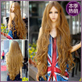 Sexy Fashion Girl Women With Long Wavy Pure Color Wheat 100cm Curly Cosplay Wigs Party Wig Wheat Synthetic Hair Natural Perruque