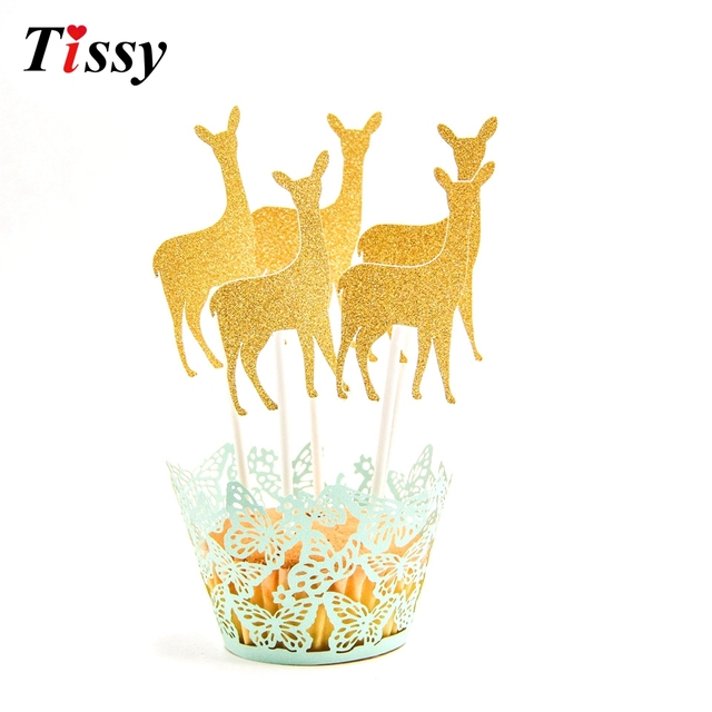 5PCS Christmas Cake Topper Mini Deer Cupcake Toppers Cake Topper ...