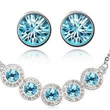 5 круглых циркониевых ожерелье со стразами серьги подарок для женщин комплект ювелирных изделий Мода для влюбленных девочек kate queen качество