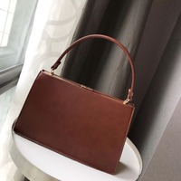 Vintage Style Women Frame Tote Handbag Pu Leather Female Purse Strap Women Shoulder Bag Top Handle