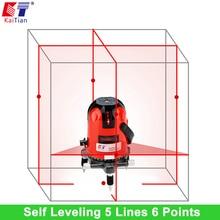 KaiTian Profesjonalne Laserowe 635nm Laser Level 5 Linie Slash Funkcja Obrotowy Laserów Poziom Poziome Samopoziomujący z Odbiornikiem