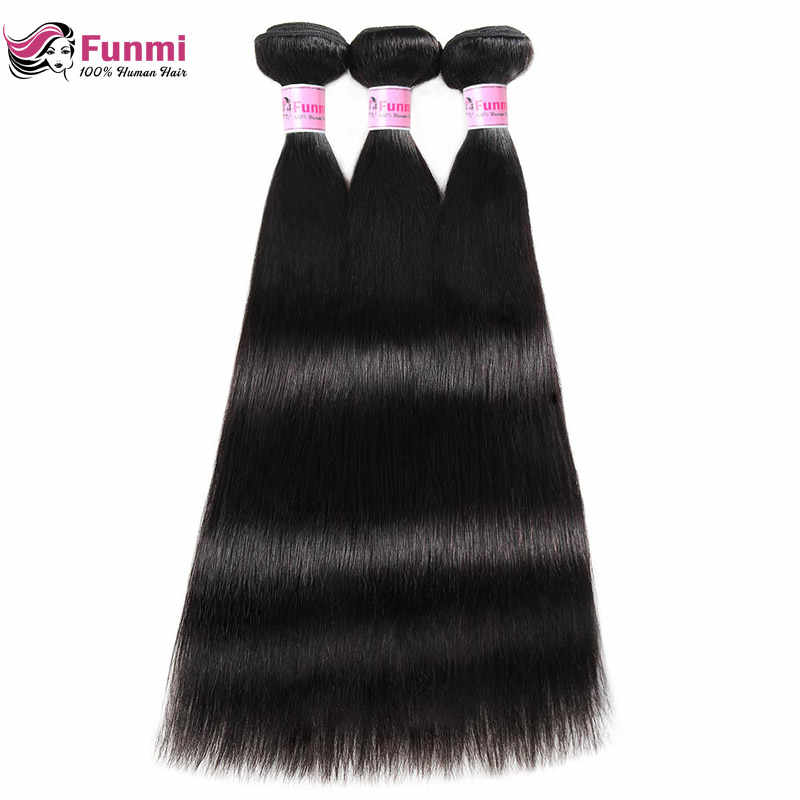 Перуанские прямые пучки волос 100% Необработанные перуанские девственные пучки прямых и волнистых волос Funmi человеческие волосы 1/3/4 пучки