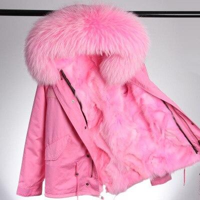 MAO MAO KONG 100% Real del Mapache Cuello de Piel abrigo de piel de invierno mujeres parkas camuflaje negro y algodón forro de piel de imitación chaqueta de la capa