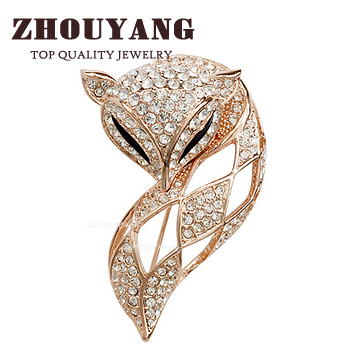 ZHOUYANG Top Quality ZYX009 Elegant Charm fox  Rose Gold Color Brooches Jewelry Austrian Crystal Wholesale