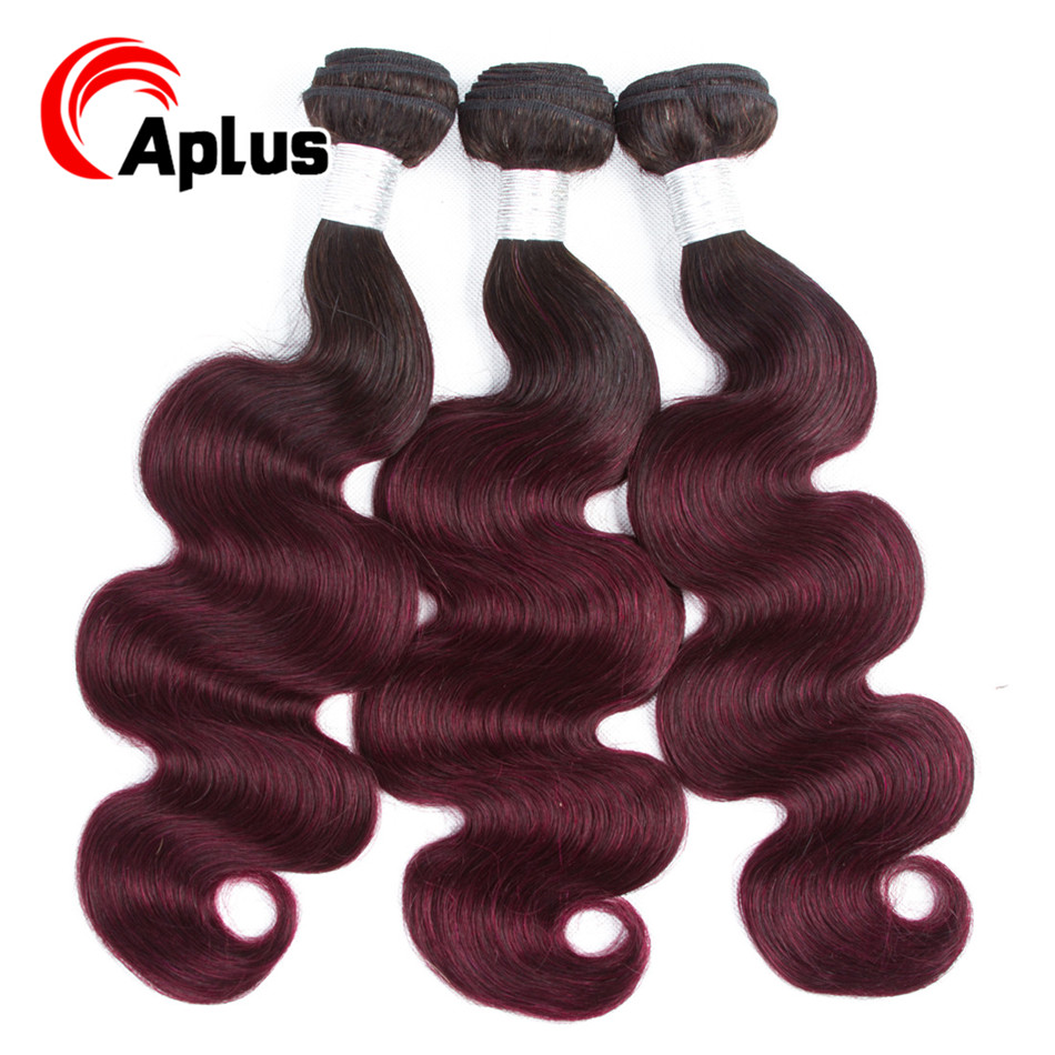 A Plus Pre-colored 3 Bundles Ombre Brazilian Body Wave Hair Burgundy Bundles T1B 99J Red Color Non Remy Human Hair Weave Bundles