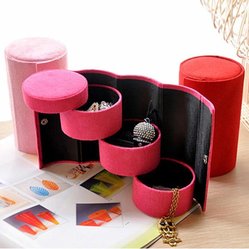 Creative Cylinder Three-tier Jewelry Storage Holder Earring Ear Stud Ring Storage Organizer Box Women Gift Free Shipping