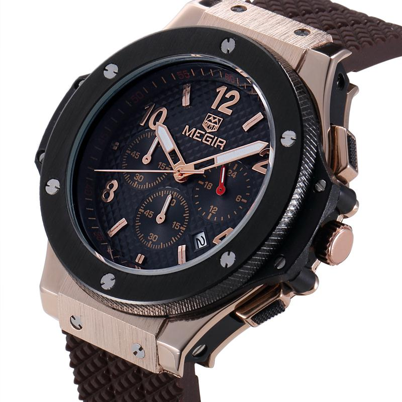 MEGIR Mens Sport Watches Silicone Quartz Military Army Waterproof Wristwatch Men Clock Sub-dial Function Relogio Masculino