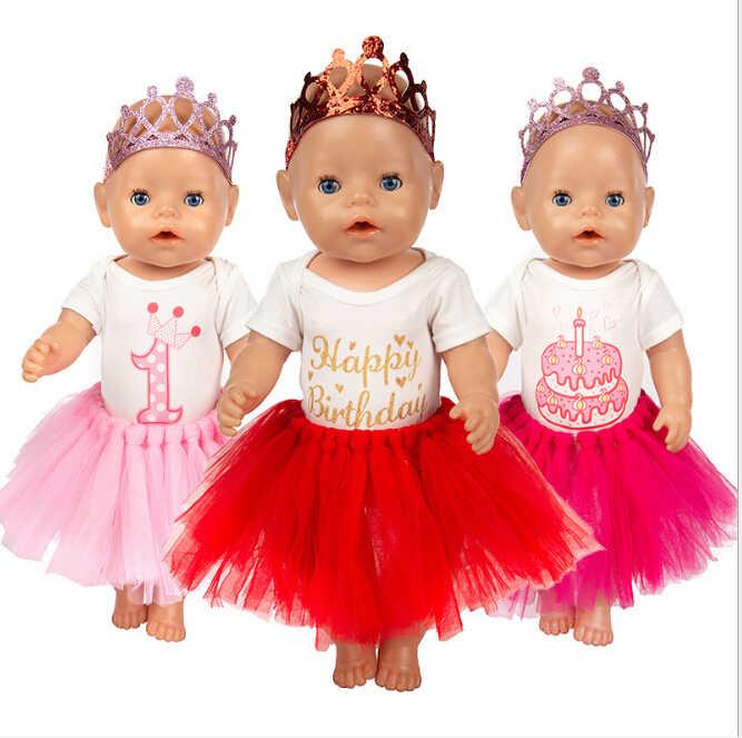 Brithday Set Puppe Kleidung + Crown Fit Für geboren 43cm Puppe Kleidung Puppe Zubehör Für 17inch Baby Puppe