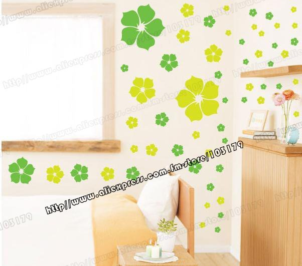 Green Flower Wall Stickers& Living Room and TV Backdrop Stickers/Wallpaper,DIY ART DECAL Wall Paper