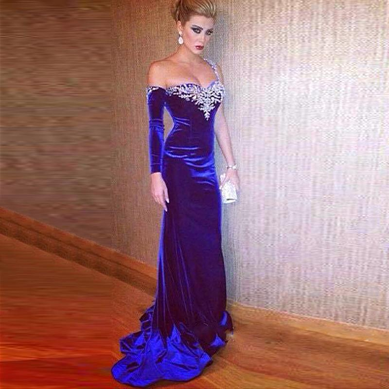 63d3130acc706 US $154.78 |2017 Robe De Soiree Sexy Mermaid Long Sleeve Evening Dresses  Royal Blue Velvet Backless Crystal Beaded Prom Gowns Abendkleider-in  Evening ...