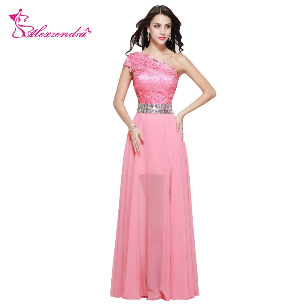 Alexzendra Straight Beaded One Shoulder Chiffon Long   Prom     Dresses   Lace Evening Gowns Party   Dress   Plus Size