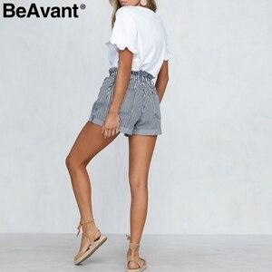 Image 5 - BeAvant פסים קיץ סיבתי מכנסיים קצרים נשים 2019 כפתור רוכסן כותנה גבוהה מותן מכנסיים נקבה חוף מכנסונים מיני מכנסיים קצרים תחתון