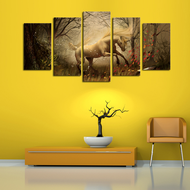 5 Panels (No Frame)Canvas Wall Art Dream Horse Pictures Paint on ...