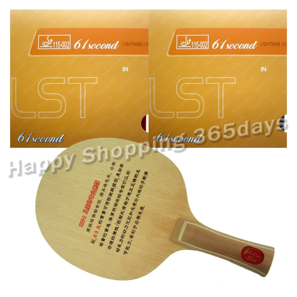 Pro Table Tennis PingPong Combo Racket Palio KC1 for children Blade with 2x 61second Lightning DS LST Rubbers Long shakehand FL palio energy 03 blade with dhs tinarc 3 and 61second ds lst rubbers for a racket shakehand long handle fl