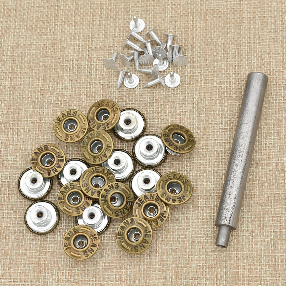 10 Metal Clothes Buttons Buckle Stud with Nails Kit for Jeans Coat Bag Belt 17mm