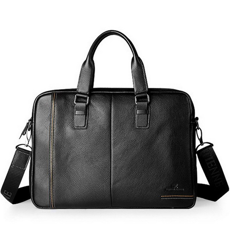 Hot sale fashion genuine soft leather briefcase, leather laptop bags for men, men's big size shoulder bags, business briefcase