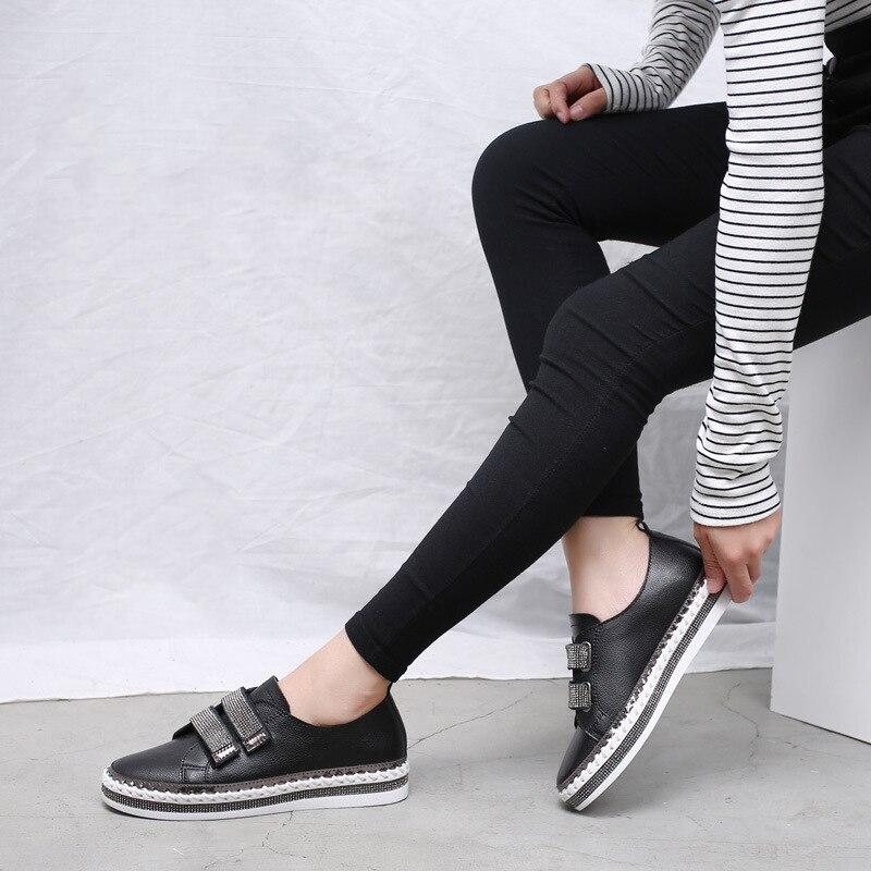 Yu Kube Crystal Genuine Leather sneakers Loafers Shoes 2020 HOOk&LOOP Woman platform Flats Ladies white Walking shoes 4